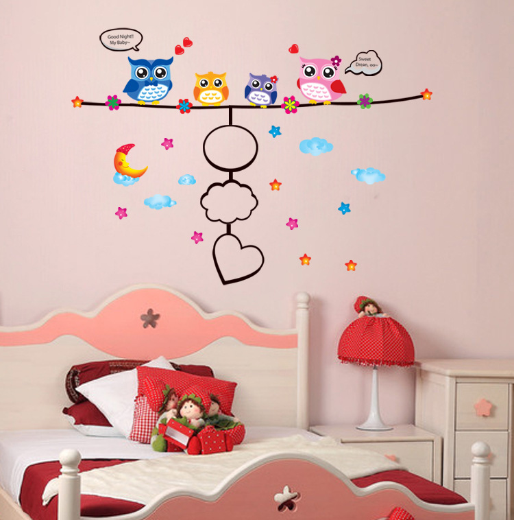 1 Pieces Cute Owl Removable Wall sticker/Home Decor/Kids Nursery Cartoon Mural Sticker Wall Decal 50*70CM