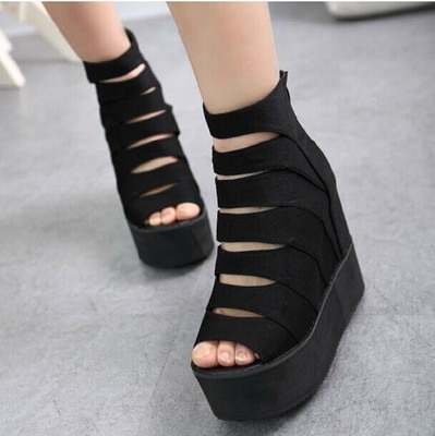 2015 spring and summer open toe shoe elevator platform shoes wedges sandals female shoes zipper flat<br><br>Aliexpress