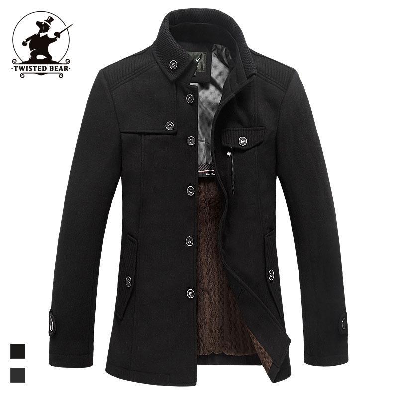 High Quality men's Wool Blends Coat Designer Fashion Stank Collar Plus Size Business Casual Wool Coat For Men Palto C42F1297