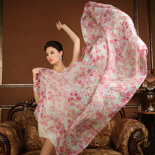 100% pure silk scarf Women Long scarves Shawl Female pink wrap butterfly pattern super big 180x110CM Summer Beach Cover-ups(China (Mainland))