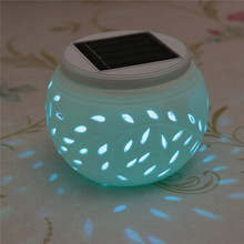 Hot Sale Romantic Design Ceramic Changing Colour LED Solar Lamp Sun Powered Table Garden Round Light Sun Light Solar Power Lamp(China (Mainland))