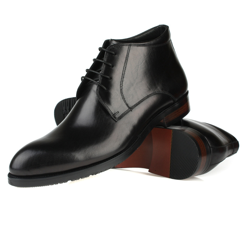 Size 6-10 best mens boots high help leather boots 100% Genuine Leather Black Brown ankle boots men dress shoes brand famous(China (Mainland))