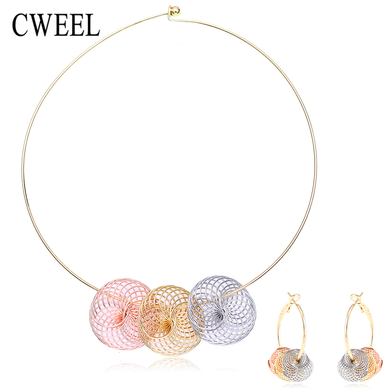 Fashion African Beads Jewelry Set For Women Drop Earrings Colorful Gold Plated Choker Necklace Bridal Party Wedding Accessories(China (Mainland))