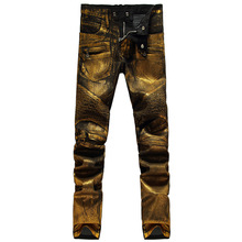 NWT Italy famous Fashion brand jeans men Shiny golden Denim jean Slim pants mens Casual jeans mens skinny jean overalls(China (Mainland))