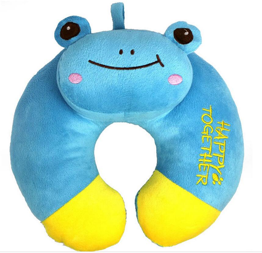 Free Shipping Cute Cartoon U-shaped Pillow Plush Neck Pillow Plush Toys Blue Frog U-shaped Pillow(China (Mainland))