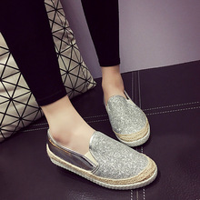 2016 Womens Espadrilles Casual Fisherman Shoe Slip On Snickers Loafers Silver Sequin Flats Straw Rope Braid Shoes Big Size 40