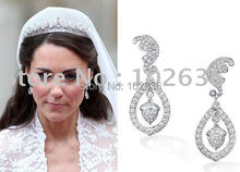Free shipping! Wholesale lots Earring Kate Middleton William wore on Royal Wedding 12pair/lot(China (Mainland))