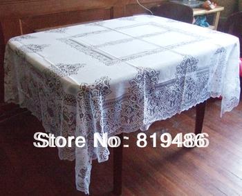 floral lace table cloths square 140*200cm white color 100% polyster
