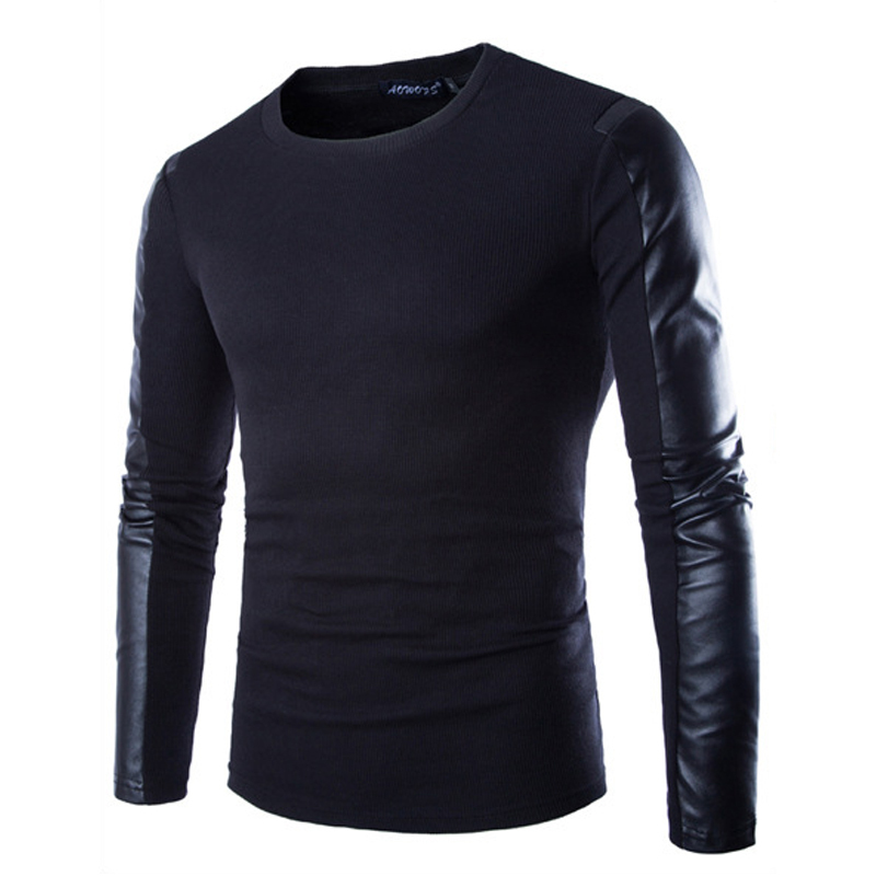 Men long sleeve t shirt new high quality pu leather o neck for Good quality long sleeve t shirts