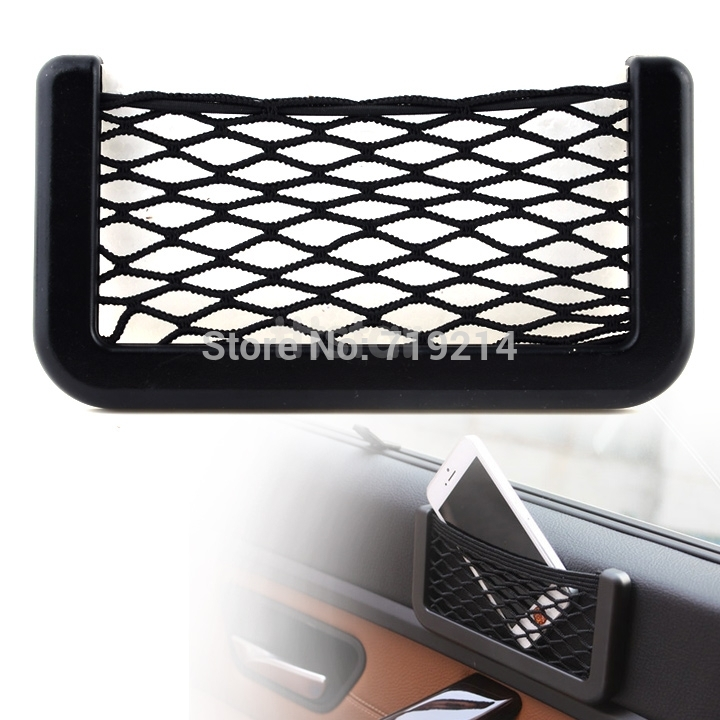Car Automotive Mobile Phone Net Bag with Adhesive Visor Car Organizer Pockets Net 10710(China (Mainland))
