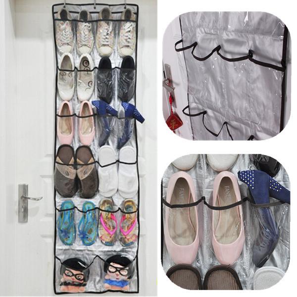 High Quality 22 Pockets Clear Over Door Hanging Baseroom Living Room Storage Bag Shoe Rack Hanger Storage Tidy Organizer(China (Mainland))