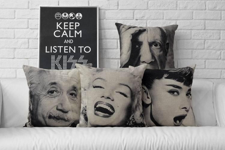 45cm*45cm Celebrity black and white Croquis Cushion Cover Creative fashion Pillow Cover Upscale comfort Cushions   For Sofas