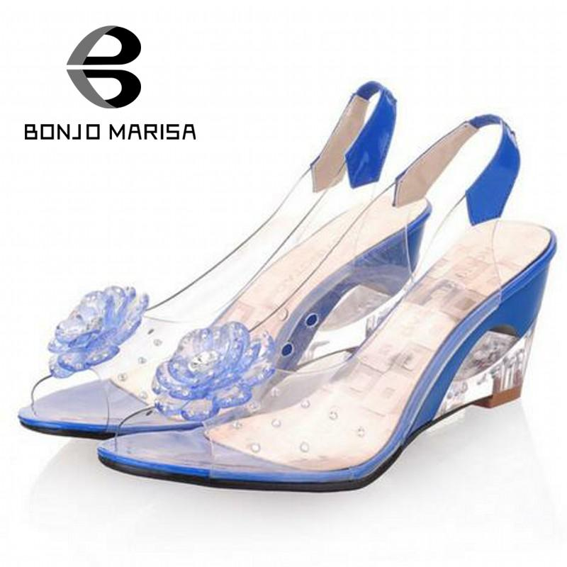 BONJOMARISA Big Size 34-43 Factory Price Rome stylish fashion wedge heel sandals dress casual shoes XB140 - BONJO MARISA Store store