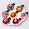 New Girl Double Sun Flower Hair Clip Colorful Non Woven 5cm Length Hairpins Baby Lovely Barrettes