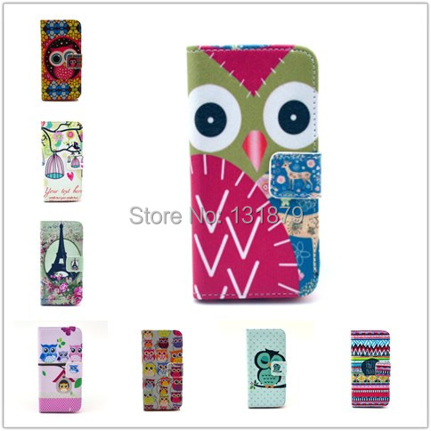 New Arrival Flowers Owl Pattern Leather Cell Phone Case Cover Holster For IPhone 5C 5 C Protective Shell Skin Free Shipping(China (Mainland))