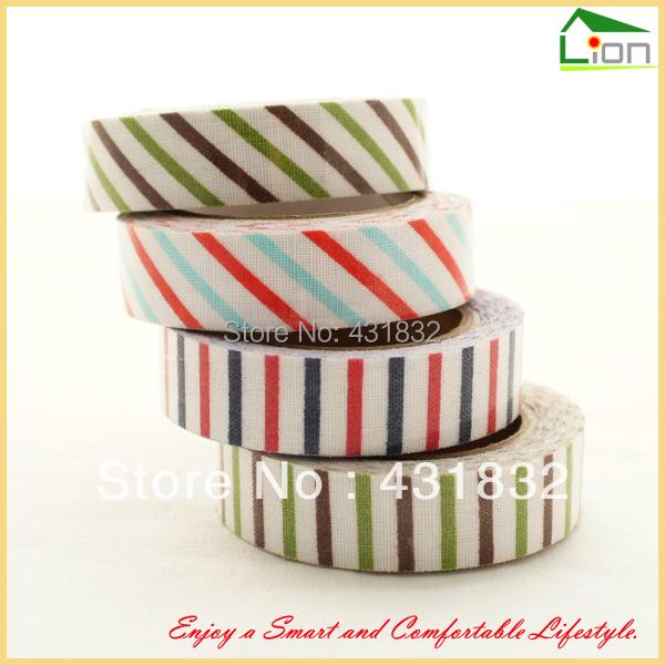 2013 New Arrival Fresh Marine Style 100% Cotton Fabric Striped Decoration Tape Stripe Decoration Tape, 3 Rolls/lot Free Shipping(China (Mainland))