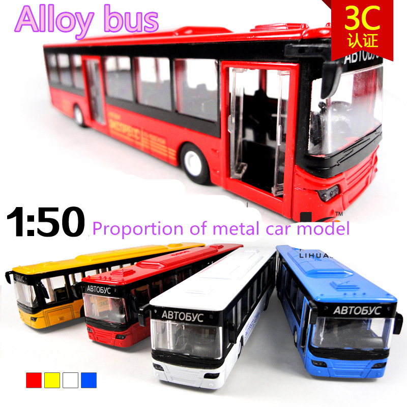 NEW children toys electric air-conditioned bus 1:50 alloy car models alloy pull back With sound and light buses(China (Mainland))