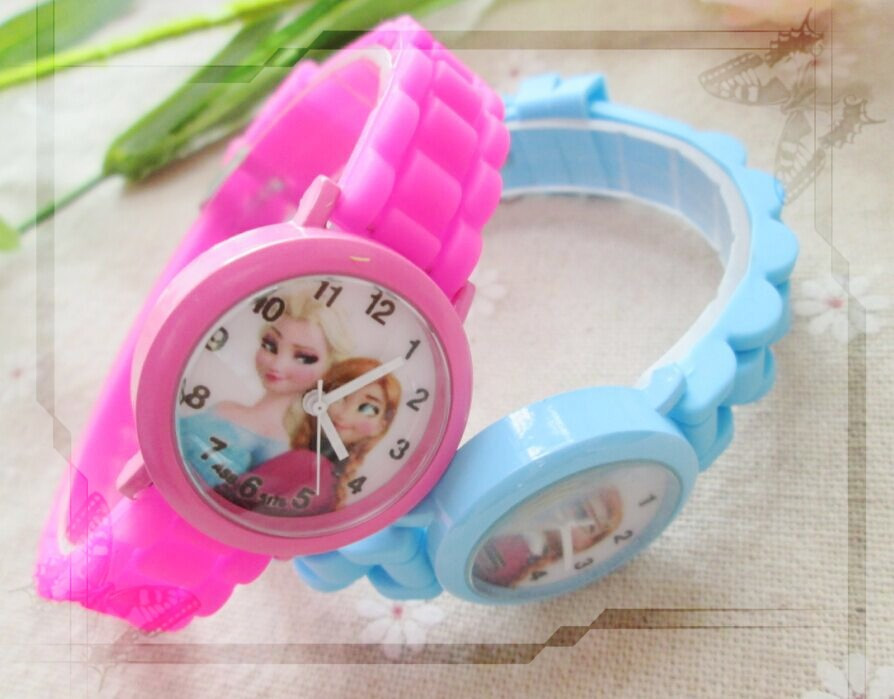 2016 New Cartoon Children Watch Princess Elsa Anna Watches Fashion Girl Kids Student quartz Wrist Watches 10pcs/lot