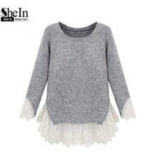 SheIn 2016 Jumpers Casual Blouse Newest Women's Pullover Fashion Grey Long Sleeve Contrast Lace Cute Knit Sweater Blouse(China (Mainland))