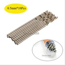 10 unids/set Micro HSS 0.5mm Rectos Vástago de Acero de Alta Velocidad Brocas Helicoidales