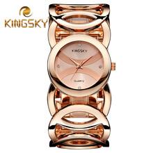 2015 moda cadena de círculo dorado mujeres reloj pulsera reloj de pulsera accesorio femenino vestido de dama ronda Casual relojes 3809#