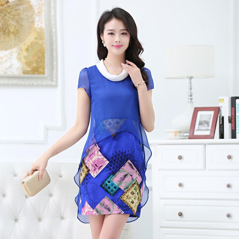 Summer new silk dress in long dresses high-grade silk satin dress boutique short sleeved dress