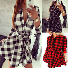 Vancol Checkered Slim Sexy Vestidos Femininos Plus Size Casual Belt Long Sleeve V Neck Women Fashion Summer 2016 Denim Dress(China (Mainland))
