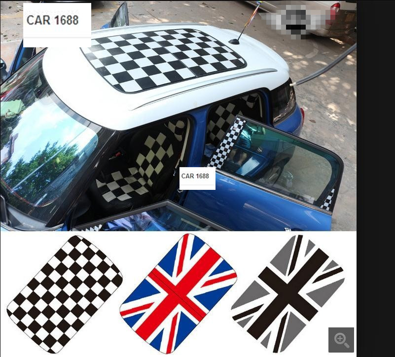 FOR Mini cooper R55 R56 R57 R58 R61 R60 F56 F55 car stickers AUTO roof sticker accessories special size does not need to cut(China (Mainland))