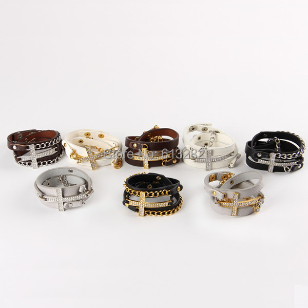 Free shipping!!!Cowhide Bracelet,african style jewelry, with Zinc Alloy, Cross, plated, adjustable &amp; 3-strand &amp; with rhinestone<br>