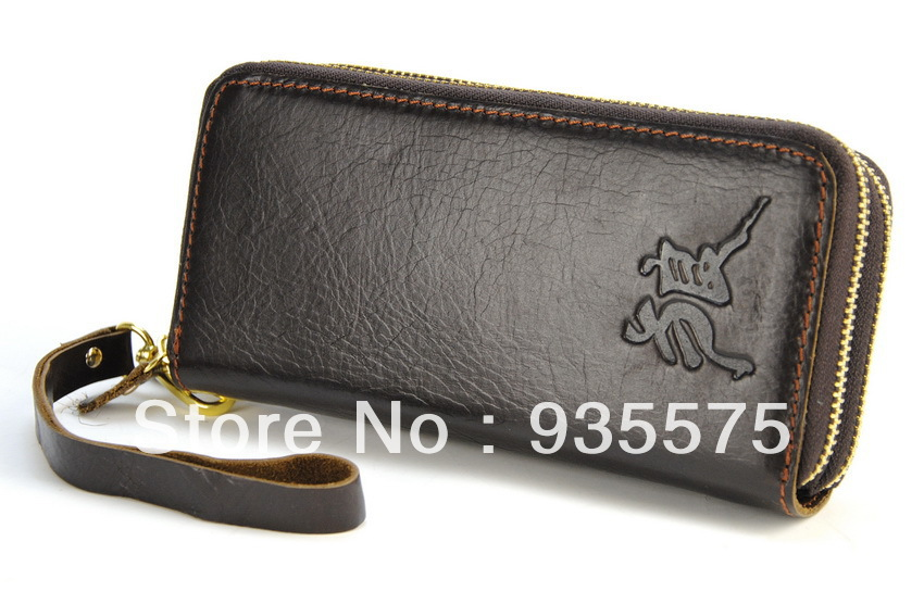 copy prada bags - Men Vintage Genuine Leather Clutch Wallet Double Zip Around Purse ...