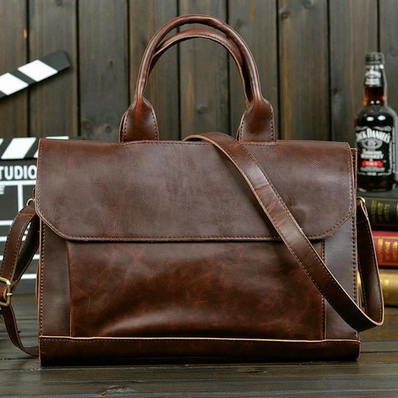 New 2016 hot style men vintage crazy horse PU leather laptop bag Korea fashion men's travel bag business bag handbag briefcase(China (Mainland))