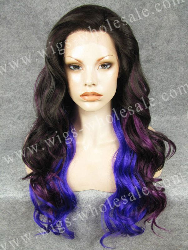 CWN7C4/3700/3700L Superior Quality Long Wavy Cosplay Purple Three Tones Wig Synthetic Lace Front Wig(China (Mainland))