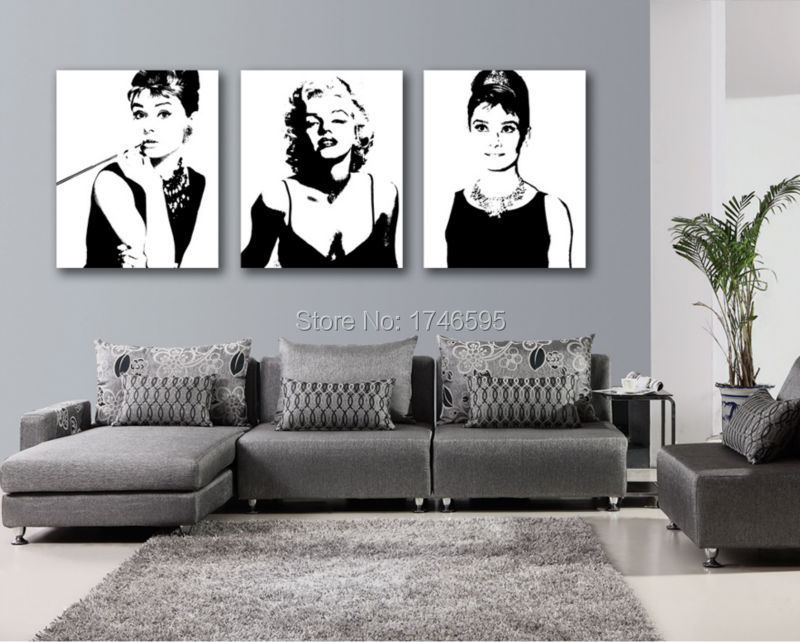 Modern Living Room Wall Art star oil painting audrey hepburn promotion-shop for promotional