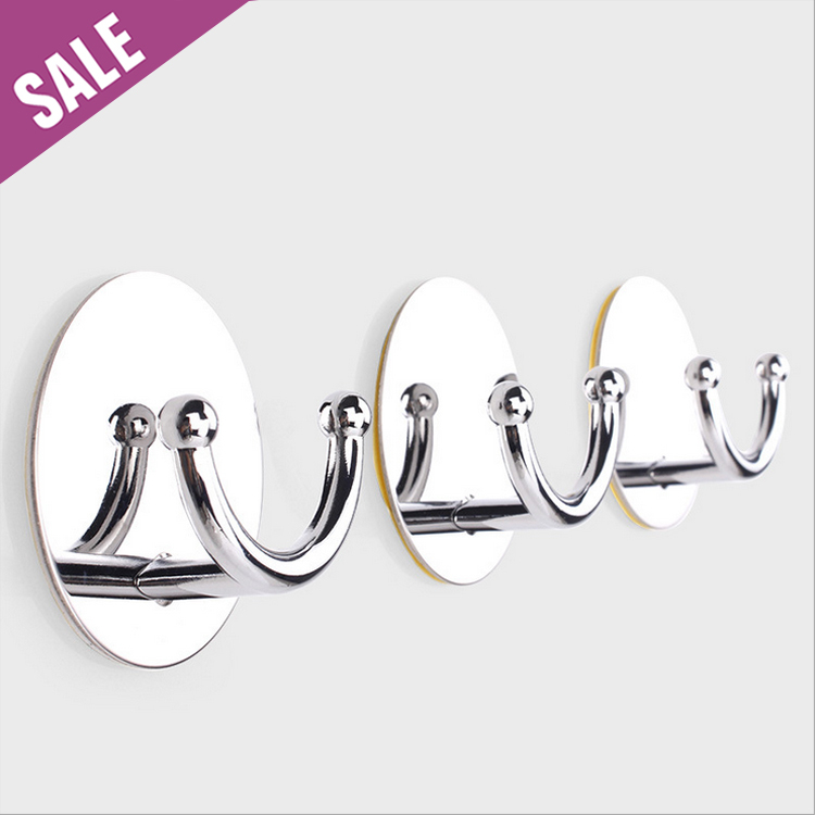 3Pc/ lot Stainless Steel Adhesive Modern Decorative Wall hooks&racks,Clothes hook &Towel & coat&Robe hook, Bathroom Accessories(China (Mainland))