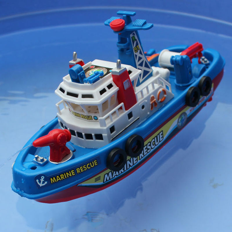 Fire Boat Electric Boat Children Electric Toy Navigation Non-remote Warship Christmas Kids Toy Baby Gifts(China (Mainland))