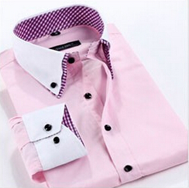 New 2015 Men Dress Shirts Men's Brand Long Sleeve Turn-Down Collar Striped Slim Fit Casual Shirt Plus Size Mens Tops 7 Color M15(China (Mainland))