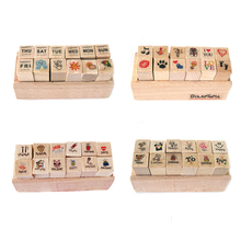 (4 Styles Can Chose) Cute Mini 12 Pieces Shapes Wooden Rubber Stamps Fotos Decor Props For Diy Photo Album