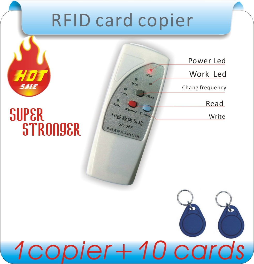 product Free shipping 4 frequency RFID Copier/ Duplicator/ Cloner ID EM reader & writer+ 10pcs EM4305 writable keyfob