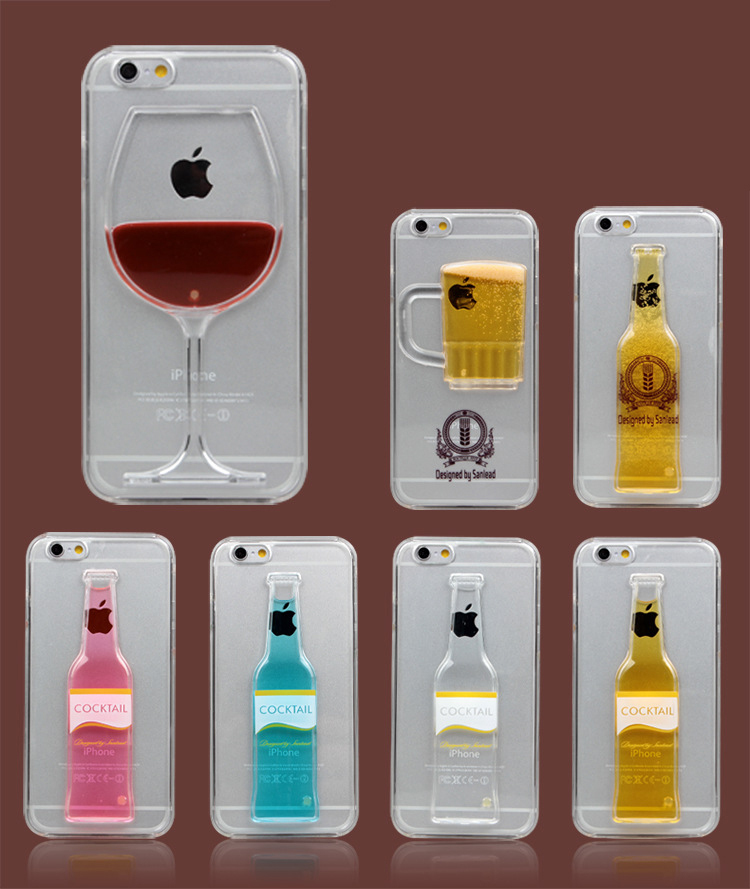 NEW Beer Red Wine Cup Cocktail Liquid transparent Clear Case Cover For iPhone 6 6s 4.7 inch 6 Plus 5.5 inch Phone Bag Back Cover(China (Mainland))