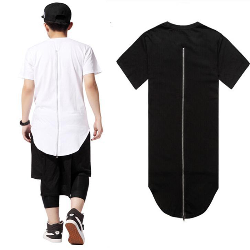 summer hip hop t shirt long back zipper swag polyester o neck tshirt homme skateboard tyga tops. Black Bedroom Furniture Sets. Home Design Ideas