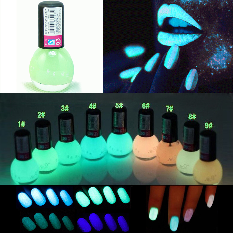Fluorescent Neon Pink Nail Polish: 1Pcs 8ml Fluorescent Transparent Green Neon Luminous Gel