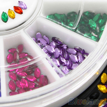 Multicolor Oval 3D Glitters Studs DIY Decoration Nail Art Tips Stickers Wheel