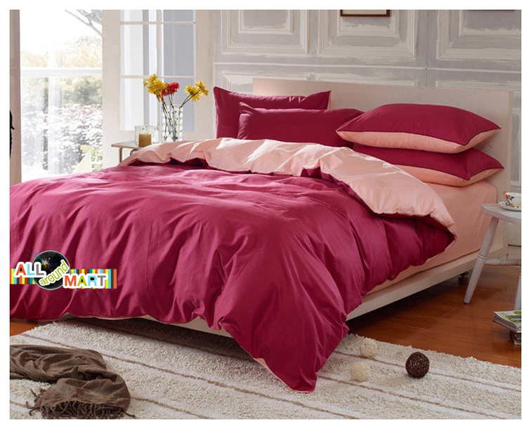 Free Shipping 4pcs Cotton Contrast Color Bedding Set