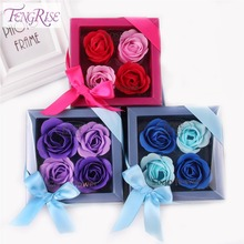 FENGRISE 4pcs Soap Artificial Rose Flowers Petals Wedding Decorations Favors Valentines Day Gifts Scented Bath Supplies Romantic(China (Mainland))
