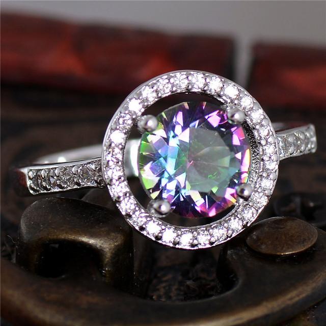 Бесплатная доставка серебро многоцветная CZ женщин изысканный обручальное кольцо ...