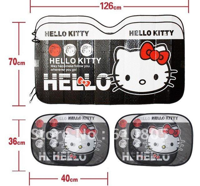 Solar Protection High Quality Car Sunshade With 6pcs/kit,Window Foils Car Parts  Hello Kitty