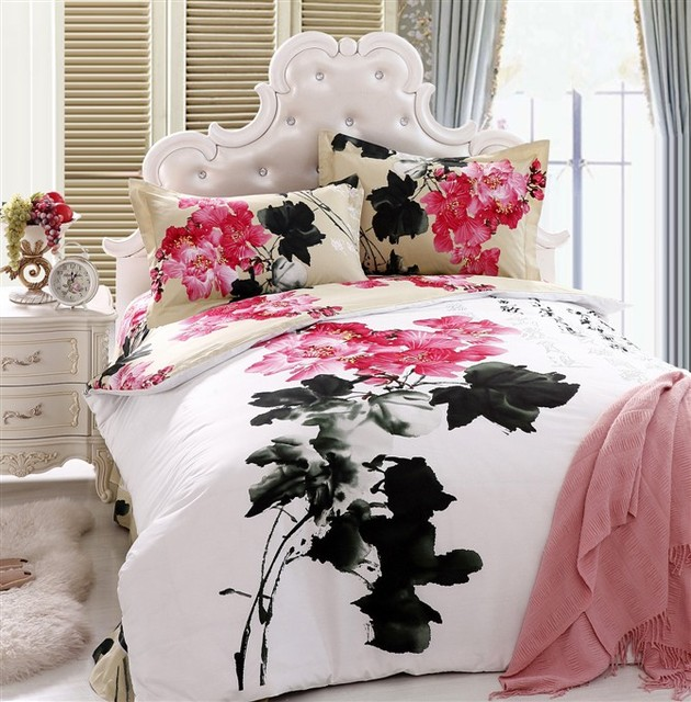 Personalized ink oil painting peony slanting 100% cotton stripe print activated piece set duvet cover plus size 220 240 painting