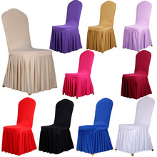 Folding Spandex Wrinkle Dining Room Jacquard Chair Covers Machine Washable Restaurant for Wedding Banquet Hotel Chair Covering(China (Mainland))