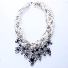 New Resin Imitation Pearl Knitted Choker Necklaces Resin Flower Necklaces & Pendants for Women Jewelry N2569(China (Mainland))