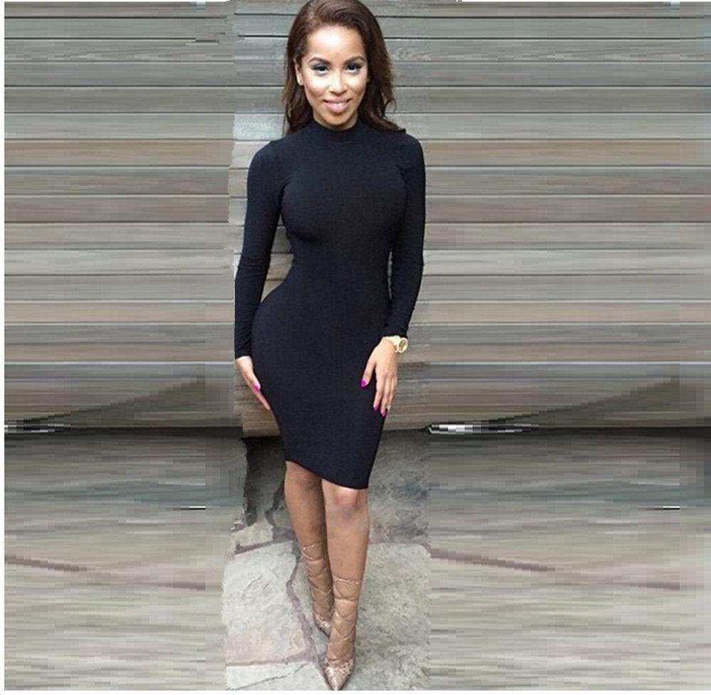 Women Sexy Long Sleeve Black Winter Dress Clubwear Turtleneck Vestidos Blue Red Bandage Party Dresses Plus Size Bodycon Dress